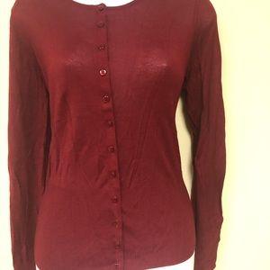 Burgundy cardigan sweater
